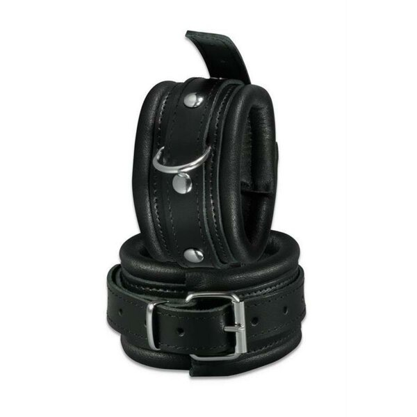 bellavib ® Leder Fussfesseln Fußfessel gepolstert schwarz