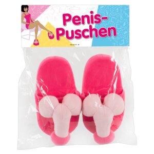 Rosafarbene Plüsch-Puschen für SIE mit Penis...