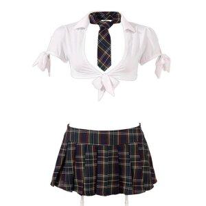 Schulmädchen-Set L Kostüm Uniform Reizwäsche Damen-Dessous-Set in Mehrfarbig