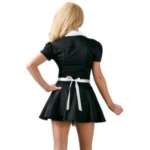 Servierkleid L Dienstmädchen Kostüm Mini-Kleid Uniform Kleid Dessous in Schwarz