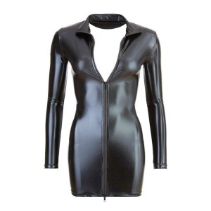 Minikleid XL Damen Dessous-Kleid Mini-Kleid Kleid mit Reißverschluss in Schwarz