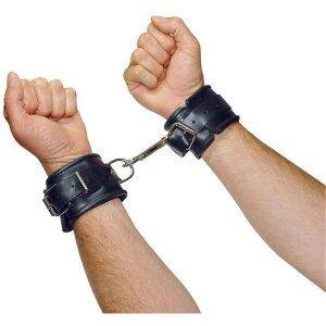 Leder Hand Fessel Fesseln schwarz Gepolstert Leder-Manschetten (6 cm breit)