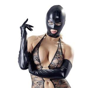 Kopfmaske schwarz Mundfrei Augenfrei Bondage Maske...