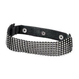 Schwarzes Halsband mit breitem Strasselement Verstellbar