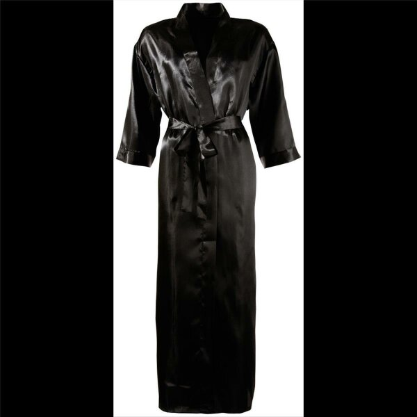 Kimono L/XL Morgenmantel Damen-Dessous Nachtrock Kimono lang mit Gürtel Schwarz
