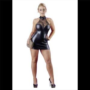 Mini-Kleid L Damen Kleid Wetlook-Minikleid mit Stehkragen...