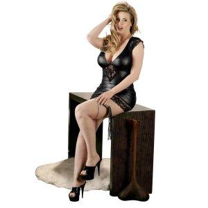 Mini-Kleid 2XL Damen Dessouskleid Kleid im Wetlook Kleid Minikleid in Schwarz