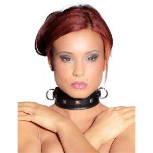 Leder Halsfessel mit Nieten und D-Ringen Schwarz