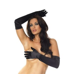 Lange Damen Handschuhe im Samt Design Schwarz Black