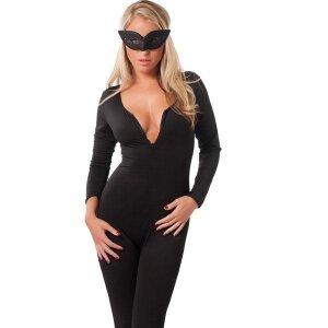 Catsuit Kostüm Damen-Overall Ganz-Körper-Anzug mit Maske in schwarz Gr.S-L
