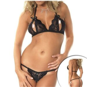 Bikini offen in reizvollem transparentem Schwarz Bikini...