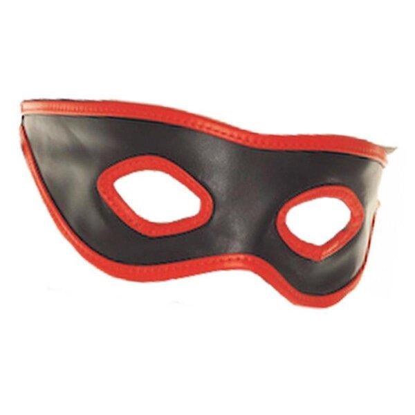 bellavib ® Leder Bondage Leder Maske mit offenen Augen in schwarz /Rot