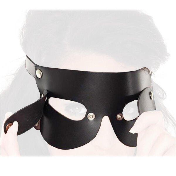 bellavib ® Leder Augenmaske mit abnehmbaren Augenklappen