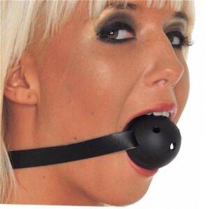 bellavib ® Mundknebel mit Plastikball (einfach) Schwarz