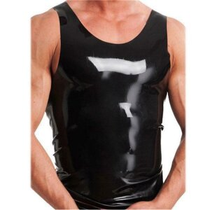 bellavib ® Herren 100% Natur Latex Gummi Muskel Shirt schwarz Gr.S